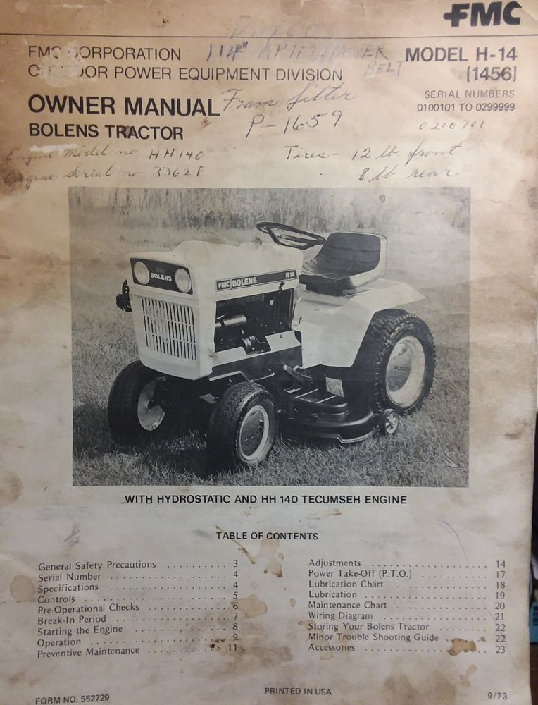 Bolens 1456 H14 Lawn Riding Garden Tractor Owner Manual 24pg Hh140 Hydrostatic Yardsuburbanmowerfarmfieldfmcpoweroutdoor: Cub 1050 Garden Tractor Wiring Diagram At Executivepassage.co