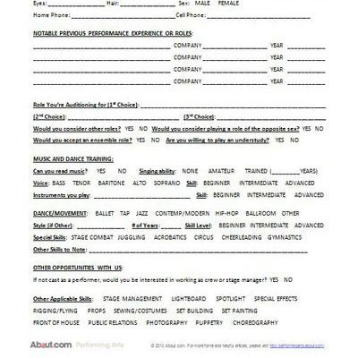 Is There a Comprehensive Form to Use When Holding Auditions? - audition form