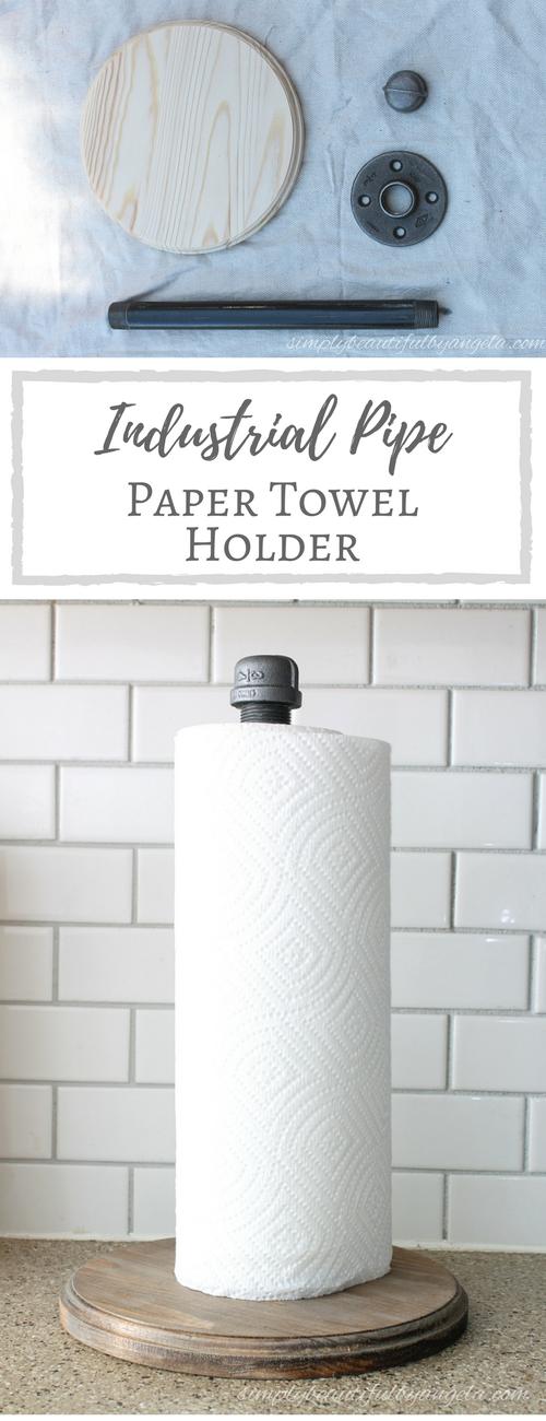 diy industrial pipe paper towel holder crea deco pinterest maison faire soi meme et jardins. Black Bedroom Furniture Sets. Home Design Ideas