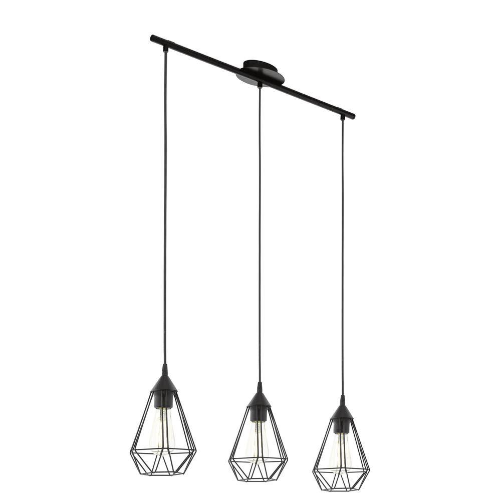 Eglo 94189 Tarbes Vintage Black Wire Cage 3 Lamp Bar Pendant Light Wiring A Ceiling Uk The Is Part Of Lighting Range Buy
