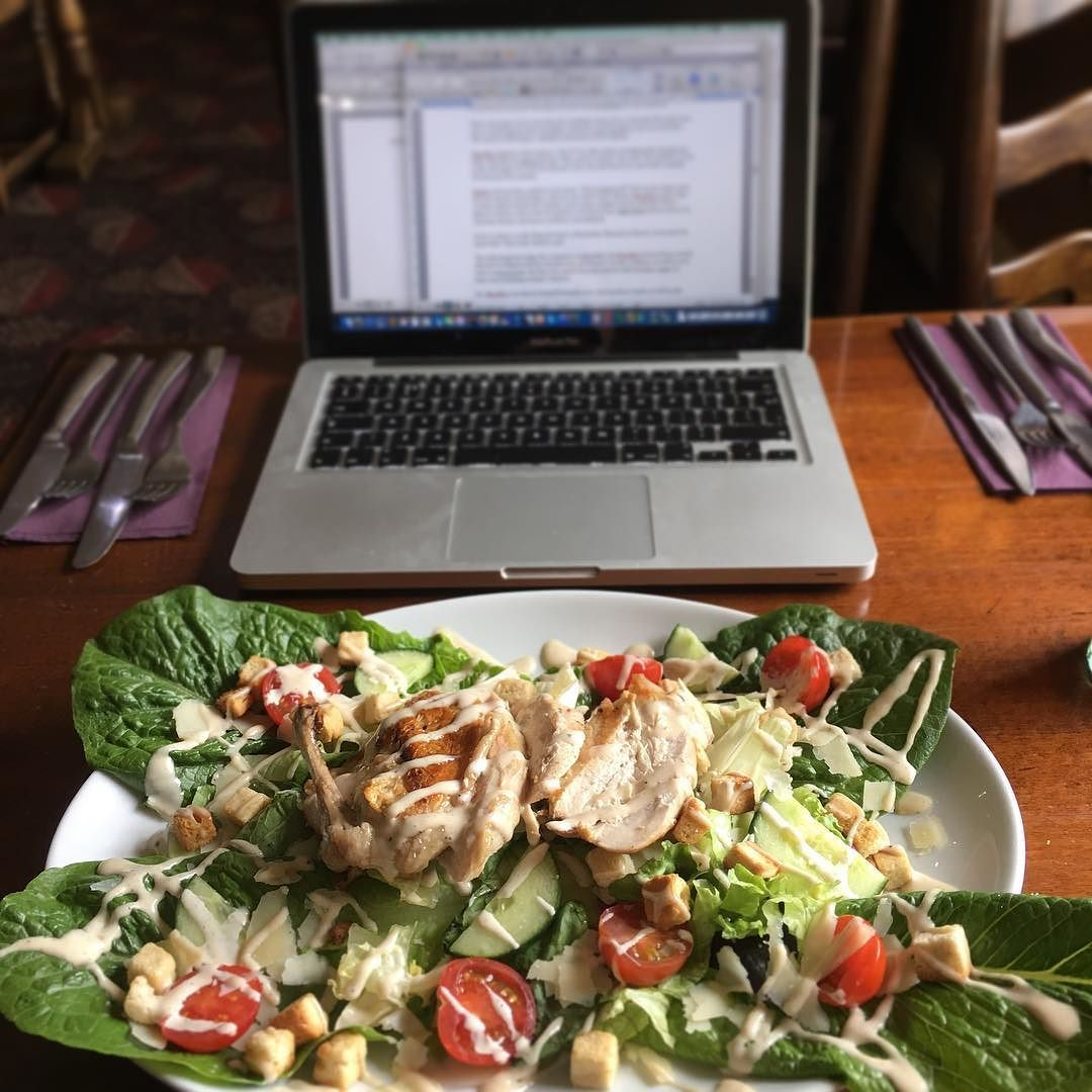 Working at the pub has its benefits! I enjoyed a gorgeous salad a good latte and wrote a bunch! I'm still here sipping on more lattes and writing more words. #book3 #amwriting  Where do you guys like to read/work/do homework?