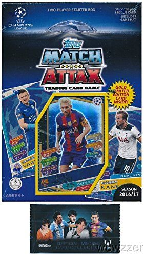 20162017 Topps Match Attax Champions League Soccer Starter Box With 39 Cards Including Exclusive Gold Limited Edition Lionel Match Attax Goalkeeper Plus Games