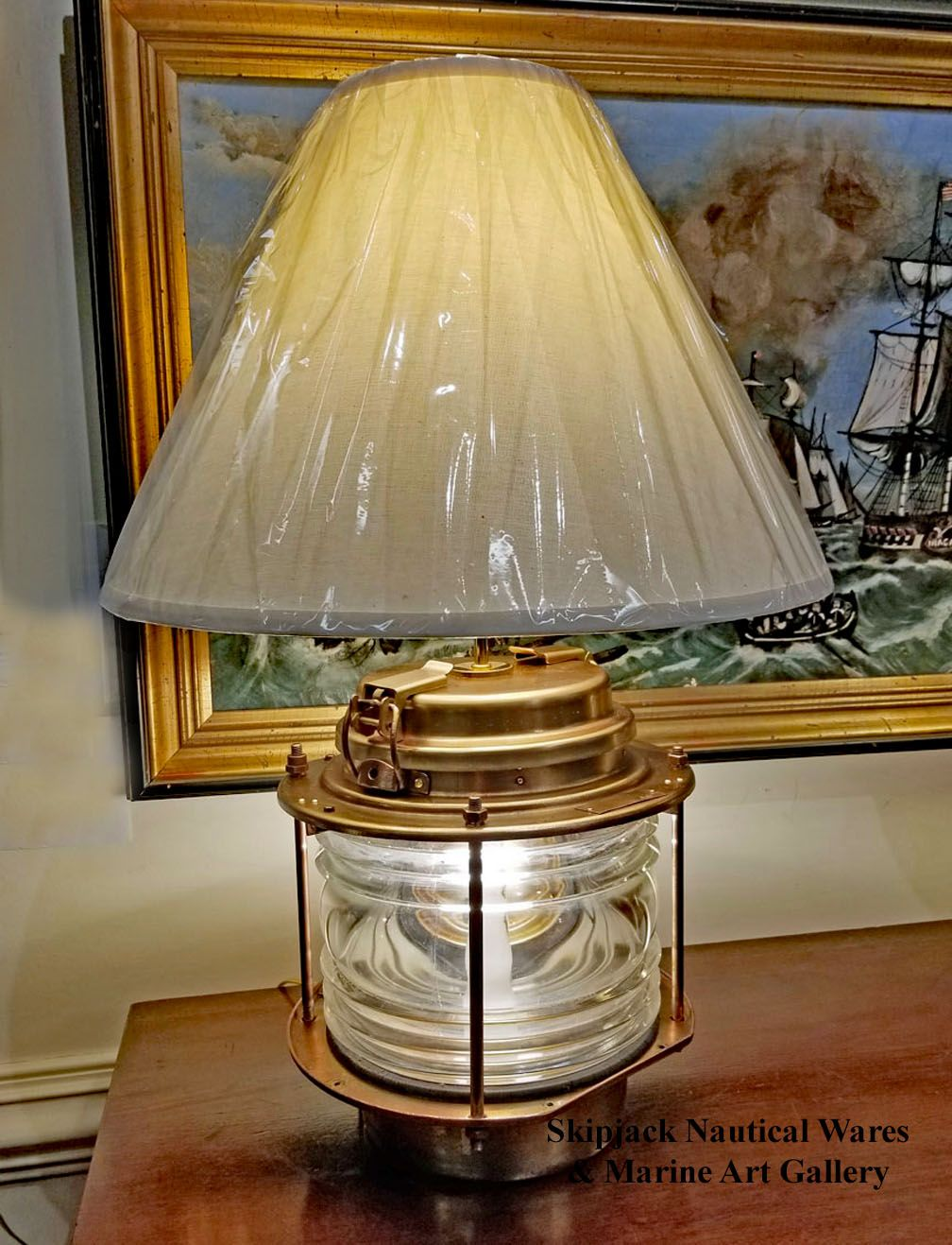 Authentic Brass Navigation Light Table Lamp Clear Glass Lamps Navigation Lights Lamp