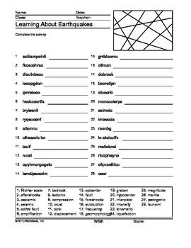 Earthquakes Word Search and Word Scramble Printable Worksheets ...