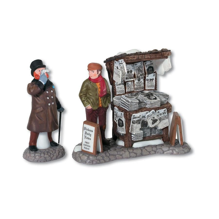 London Newspaper Stand Set of 2 Dickens village