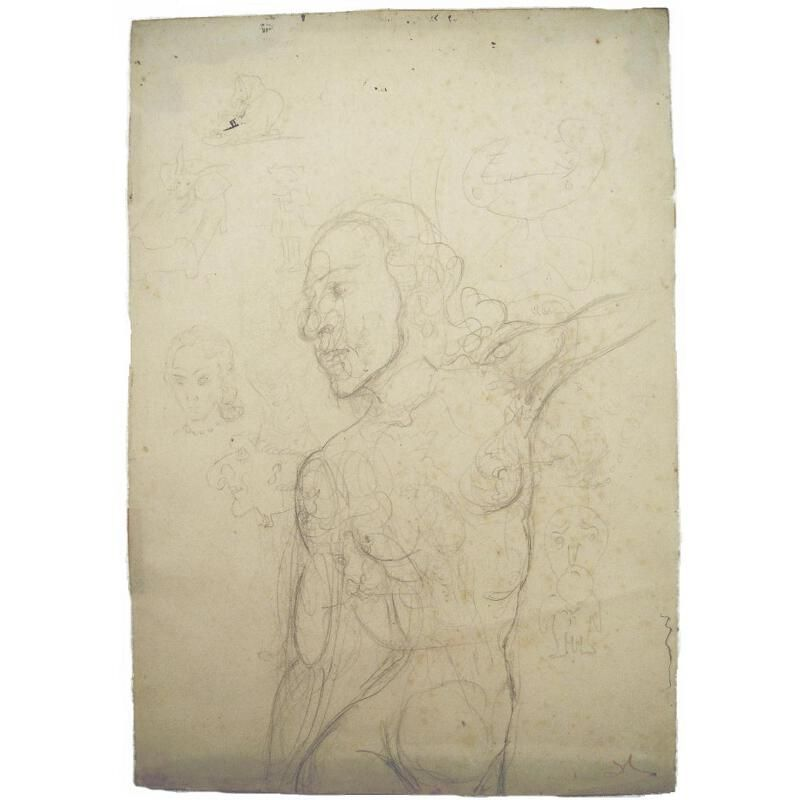 An original salvador dali pencil drawing possibly depicting gala dali is appearing at pfc auctions online auction between may 3 and may
