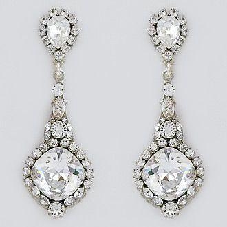 Vintage Long Crystal Drop Bridal Earrings With Images Bridal Earrings Bridal Accessories Jewelry Wedding Accessories Jewelry