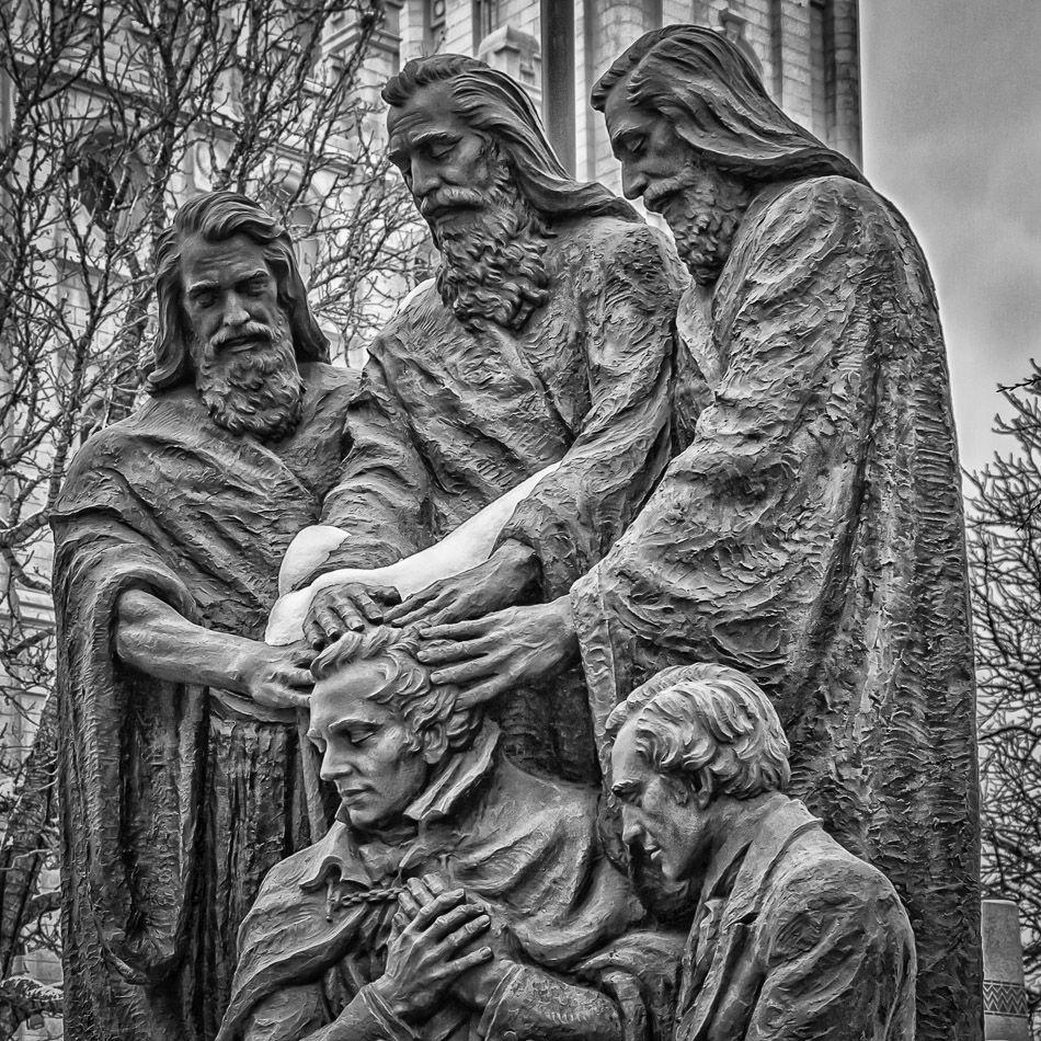 A Bronze Statue In Salt Lake City Utahs Temple Square Depicting