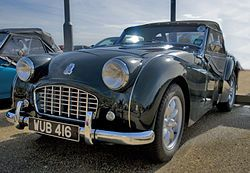 1955–1957 Triumph TR3. The car was powered by a 1991 cc straight-4 OHV engine initially producing 95 bhp (71 kW; 96 PS), an increase of 5 hp over the TR2 thanks to the larger SU-H6 carburettors fitted.