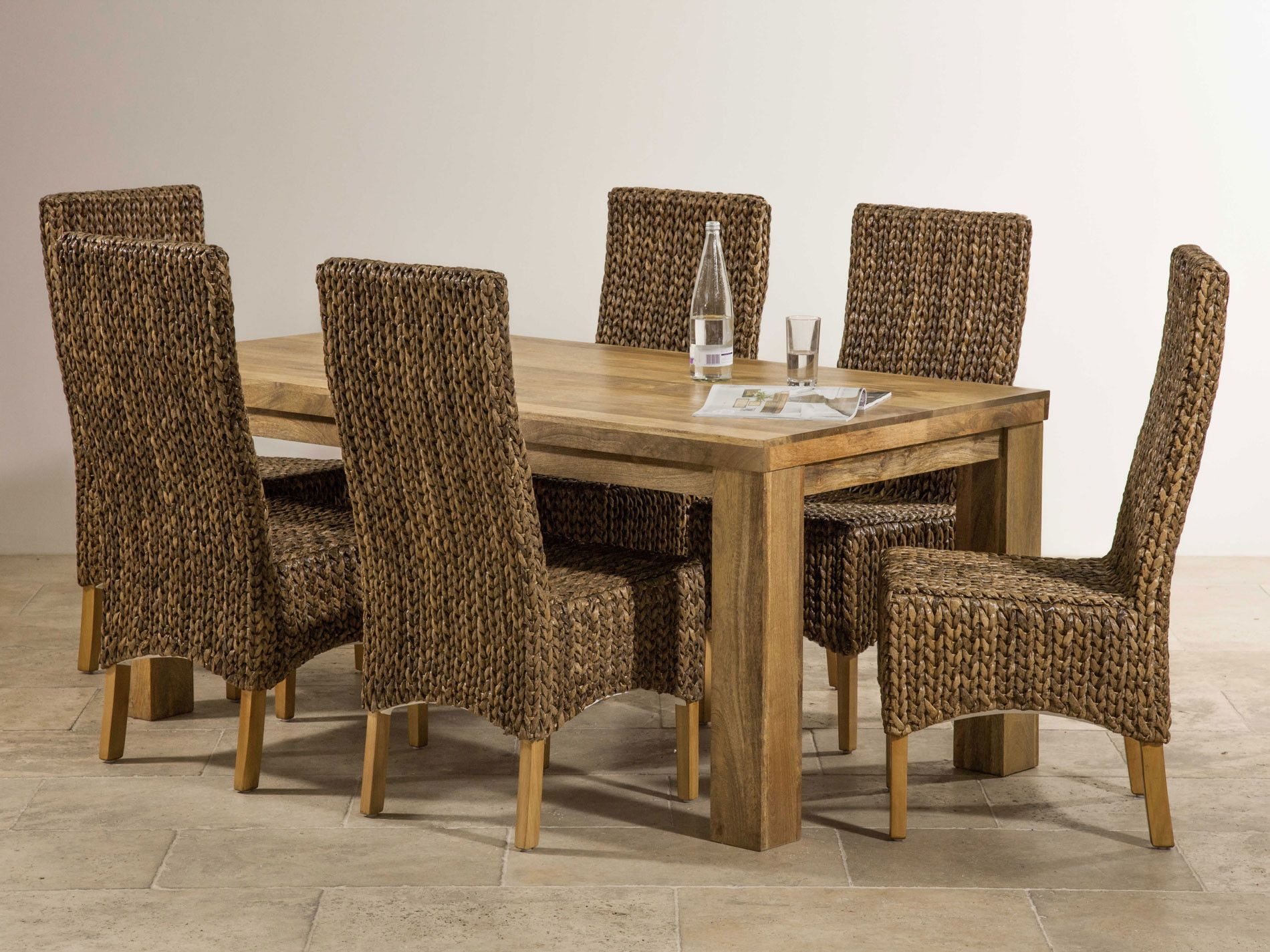 Captivating Mantis Light Natural Solid Mango Dining Set   Table With 6 High Back Grass  Chairs Ideas