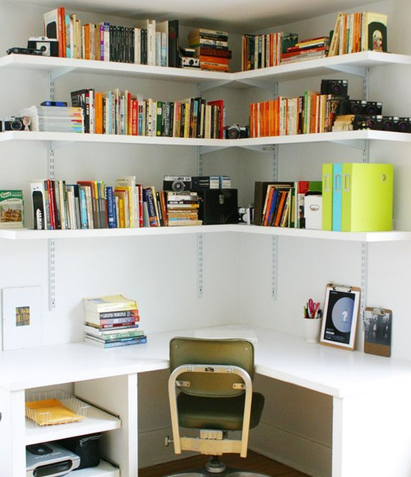 Ideas Exciting Corner Wall Shelf To Maximize Your Room Interiors Fascinating White Home Office Design With Ample Storage In The And
