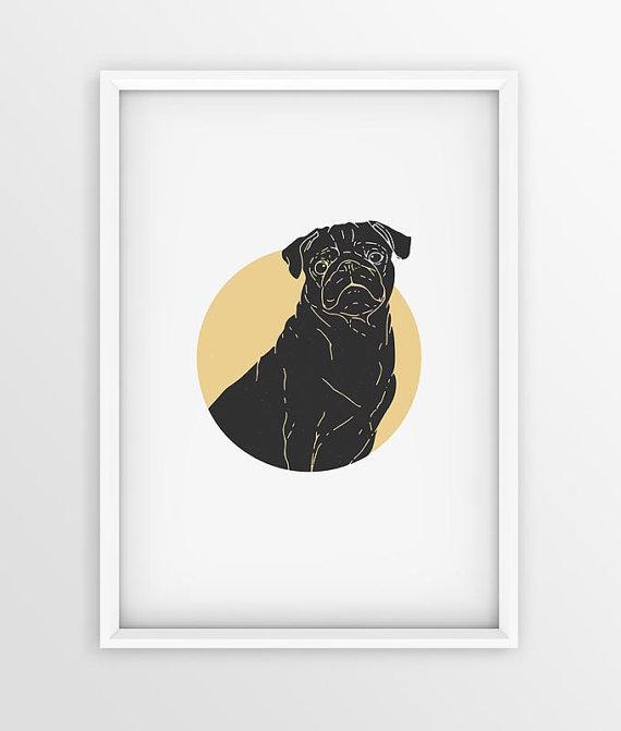 Vintage Pug Breed Dog Prints Dog Printable Art Poster Pet