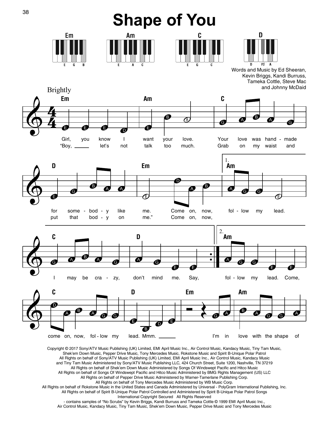 E D Sheeran Shape Of You Sheet Music For Super Easy Piano Print Now Easy Piano Sheet Music Shape Of You