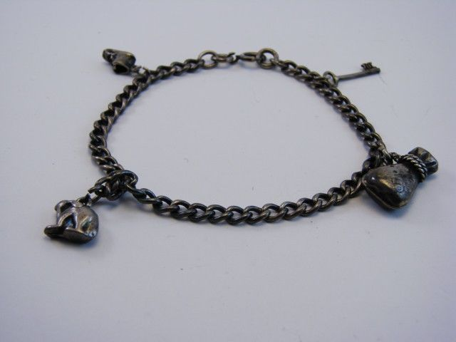 "Antique Vintage Sterling Silver Charm Bracelet  7"" wrist, Weight 13.24gr. #Chain #vintage #jewelry"