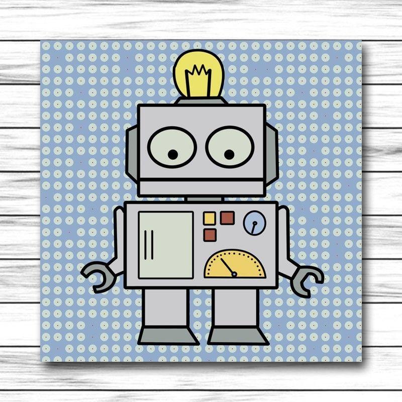 Cuadro infantil robot para decoraci n de habitaciones de - Cuadros para habitaciones ...