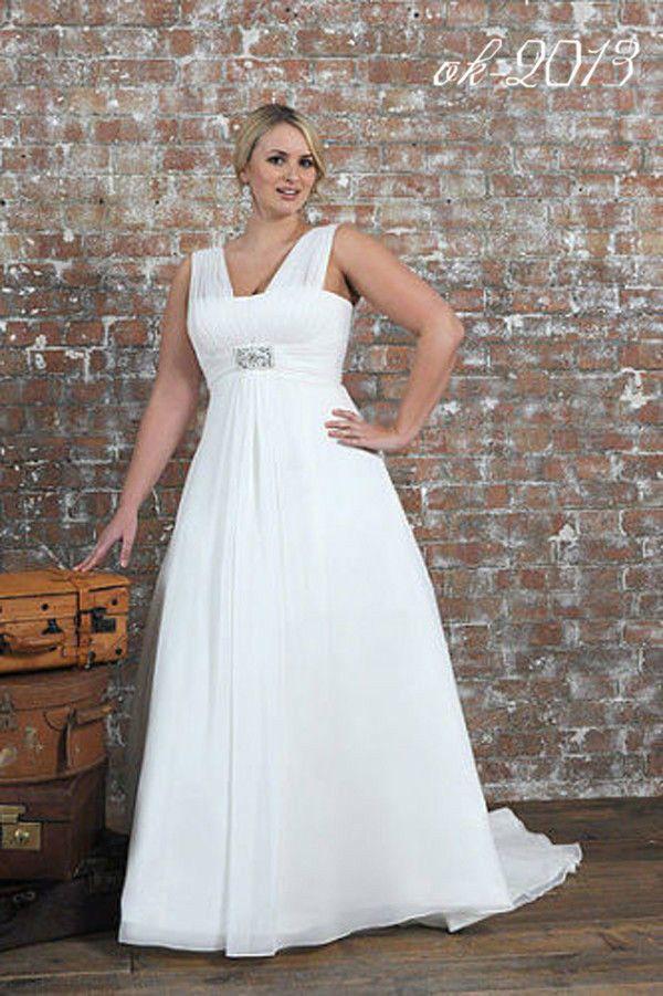 White Ivory Wedding Dress Chiffon Bridal Gown Custom Plus Size 18 20 ...