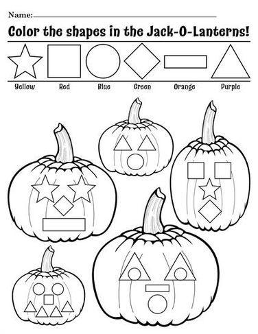 Free Printable Color The Shapes In The Jack O Lanterns Worksheet Preschool Printables Halloween Preschool Shape Coloring Pages Halloween Worksheets