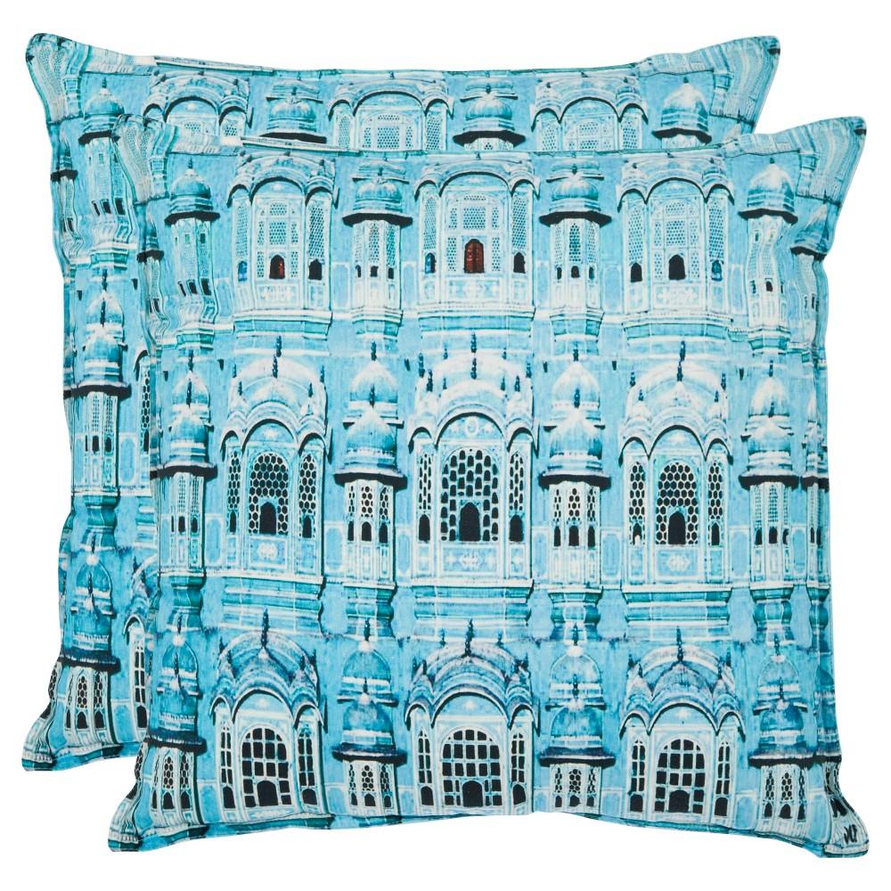 "Aqua Set Throw Pillow (1'8""x1'8"") - Safavieh"