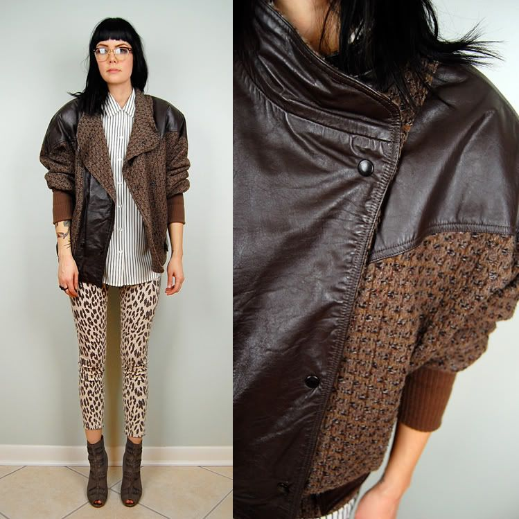 Vintage textured leather jacket