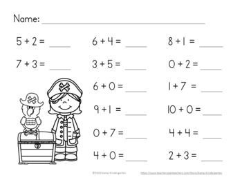 Pirates Addition Within 10 No-Prep Printables Independent
