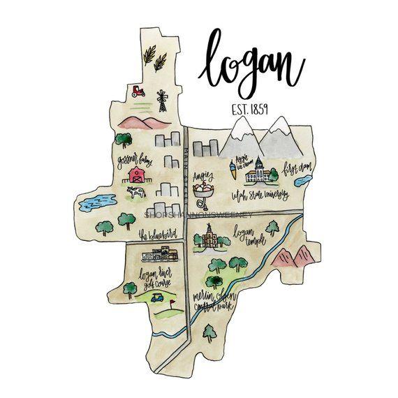 Logan Utah Watercolor Illustrated Map + FREE SHIPPING ...