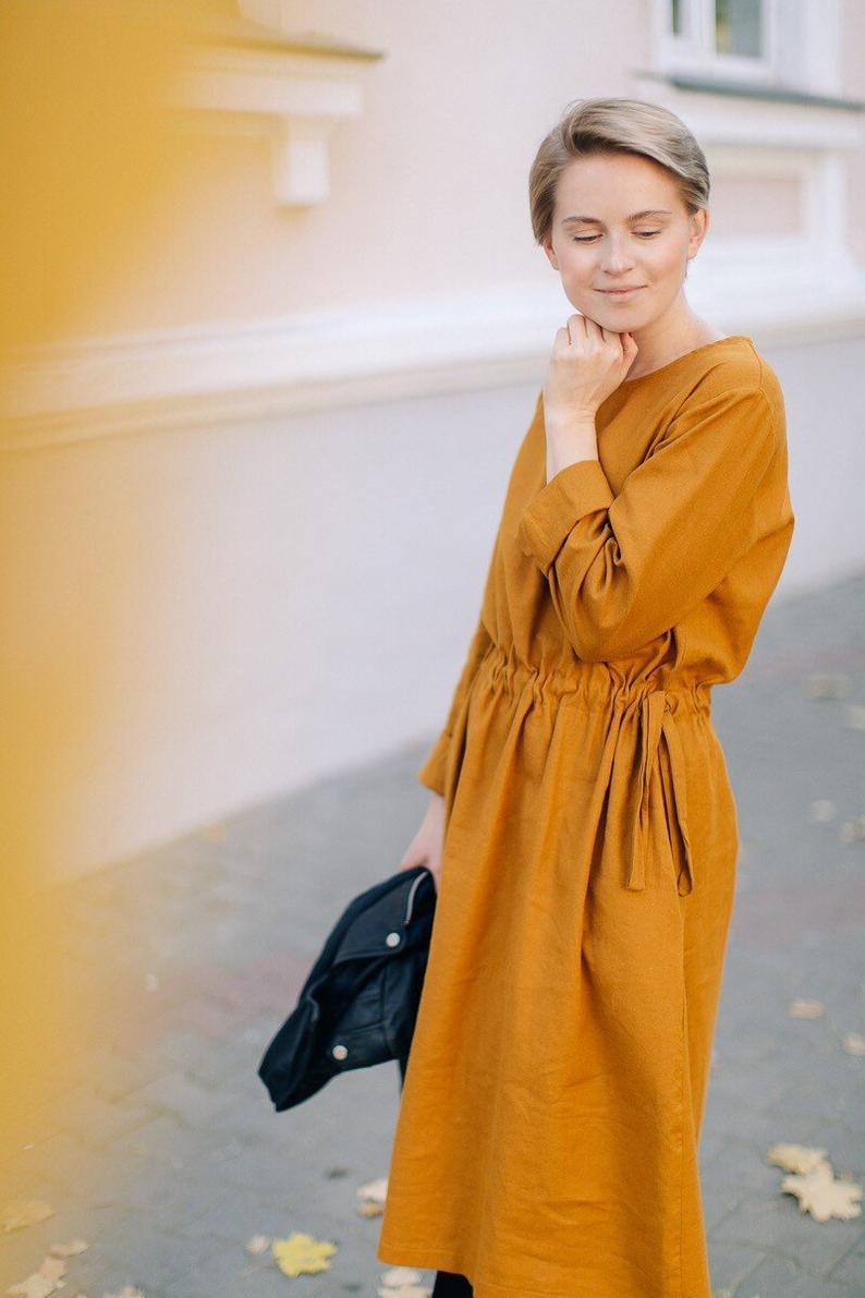 Mustard Midi Dress Winter Dress Long Sleeve Dress Long Etsy Midi Dress Winter Dresses Winter Dresses [ 1191 x 794 Pixel ]