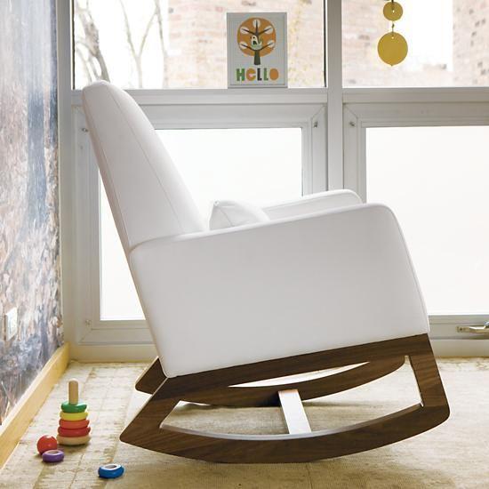 Popular Joya Rocking Chair & Ottoman White Leather Modern - Beautiful rocker and ottoman Ideas