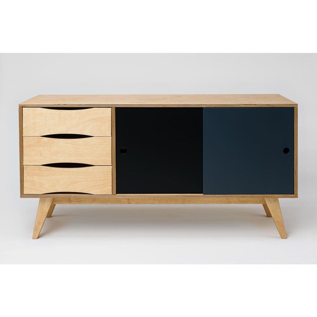 Großes Sideboard SoSixties In Holz, Grau Und Schwarz Für Einen  Skandinavischen Retro Look In