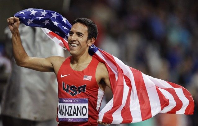 United States' Leonel Manzano celebrates winning silver in the men's 1500-meter final during the athletics in the Olympic Stadium.