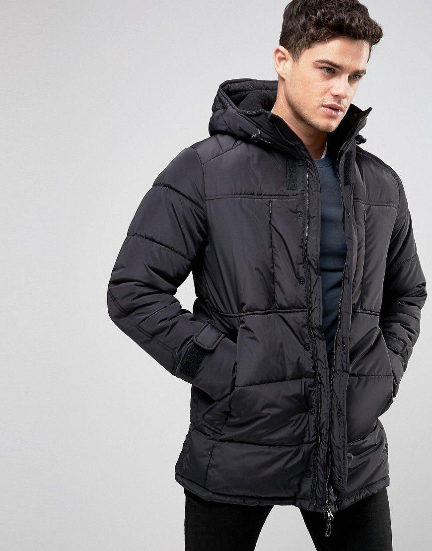 Pull&Bear Padded Parka Jacket In Black Black Jackets
