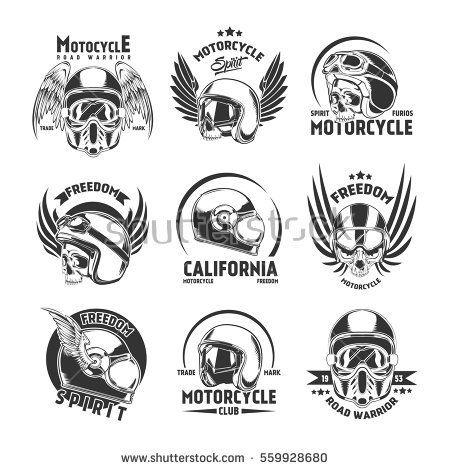 Motorcycle Helmet Design Elements Set With Badges Logos And Labels In Vintage Style Isolated Vector Illustratio Logo Set Helmet Design Motorcycle Helmet Design
