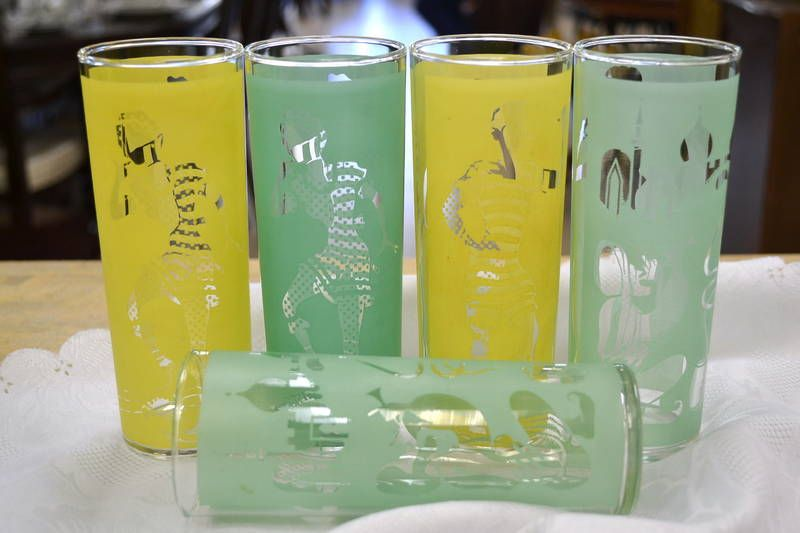 Set of 5 Vintage Frosted Yellow and Green Tall Ice Tea Glasses (Tumblers)
