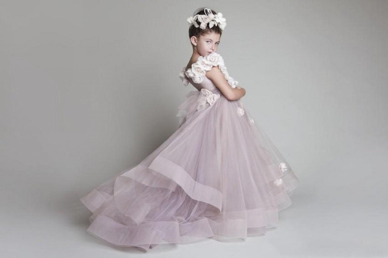 Flower girl dress new lovely new tulle ruffled handmade