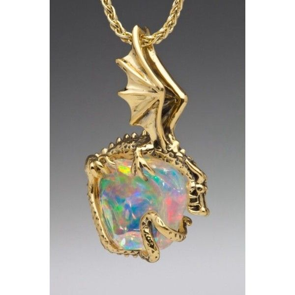 Aurora Dragon Pendant with Mexican Fire Opal_ SOLD ❤ liked on Polyvore featuring jewelry, pendants, charm pendants, charm jewelry, ear cuff jewelry, pendant jewelry and pendant charms