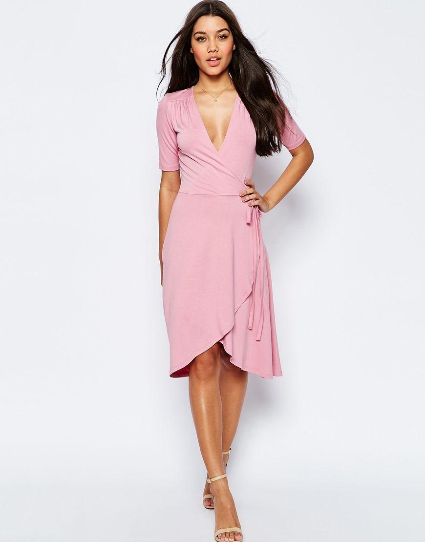 Midi Tea Dress With Wrap Front