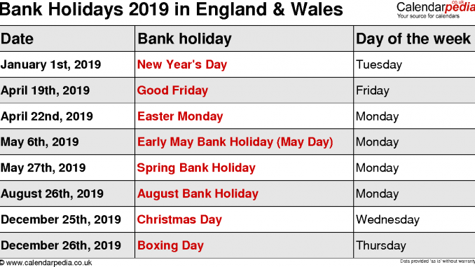 Uk Federal Bank Holidays Holiday Calendar Holiday Day August Holidays