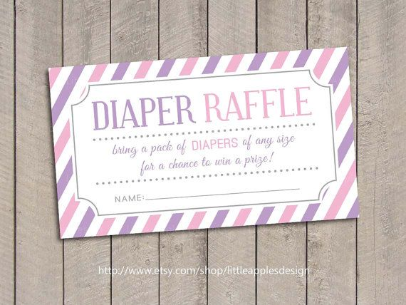 Delightful Baby Shower Diaper Raffle Tickets / Pink Baby Shower Diaper Raffle Tickets  / Purple Baby Shower Diaper Raffle / Girl Baby Shower Printables