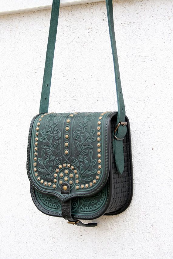 Ready To Ship Emerald Green Black Tooled Leather Bag Shoulder Crossbody Ethnic Messenger For Women Capacious