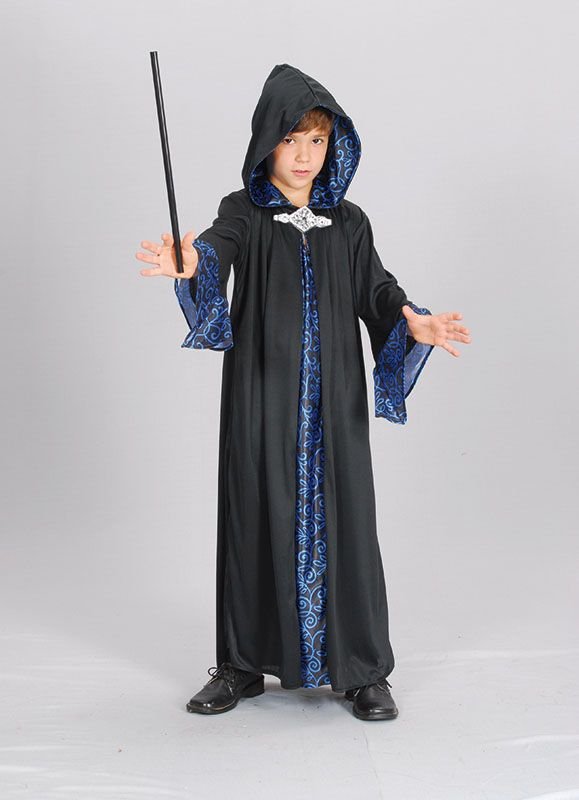 Boys Wizard Costume Cloak Robe Children's Merlin Fancy Dress