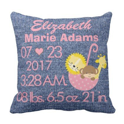 Denim jean baby girl name birth weight date time throw pillow denim jean baby girl name birth weight date time throw pillow girl gifts special unique negle Image collections