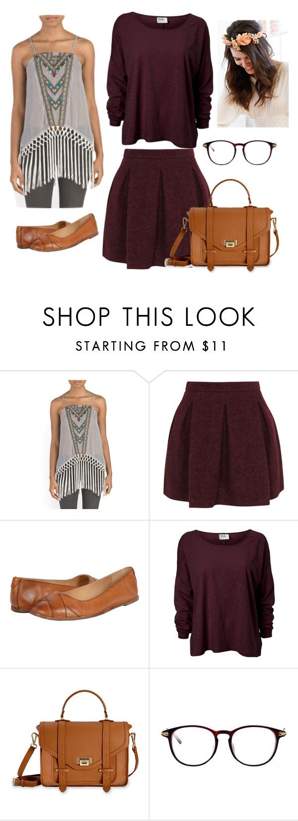 """""""Hippy prep"""" by skylarkenneally ❤ liked on Polyvore featuring Karl Lagerfeld, Frye and GiGi New York"""