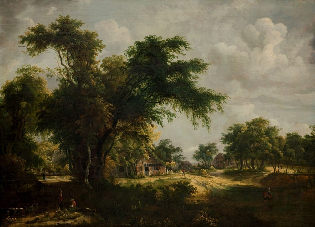 Artist:  Studio of Hobbema, Meindert Hobbema   Title:  Woodland Scene   Production Date:  17th century   Medium:  oil on canvas   Size (hxw):  539 x 723 mm   Credit Line:  Auckland Art Gallery Toi o Tāmaki, on loan from Virginia Myers