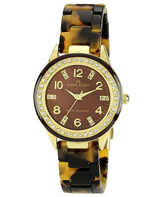 Anne Klein Watch, Women's Tortoise Plastic Bracelet 35mm 10-9956BMTO - Watches - Jewelry & Watches - Macy's