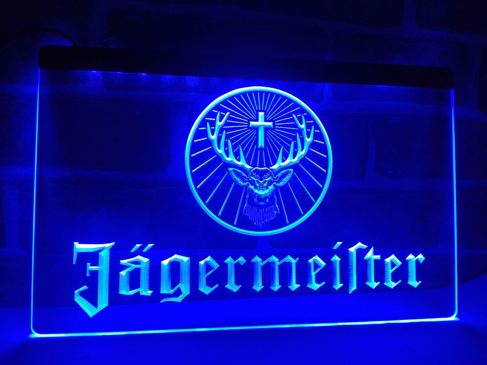 New Custom Jagermeister LED Neon Light Signs Bar Man Cave 7 colors to choose