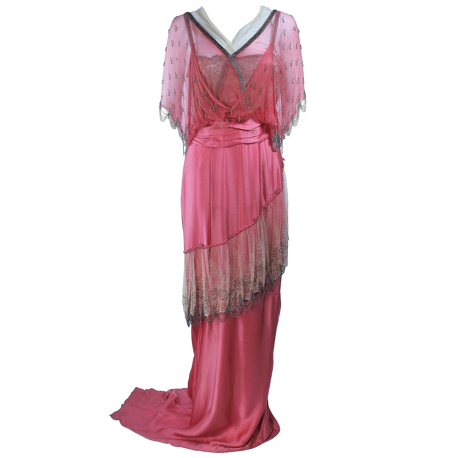 VICTORIAN Pink Silk Gown with Silver Hand Beaded Applique Size 2 4