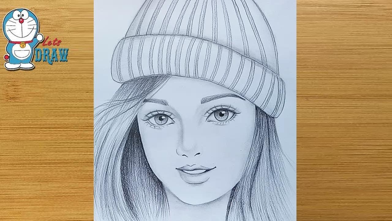 How To Draw A Girl Wearing Winter Cap For Beginners Pencil Sketch Bir Kiz Nasil Cizilir Youtube Girly Drawings Cute Girl Sketch Girl Drawing Sketches