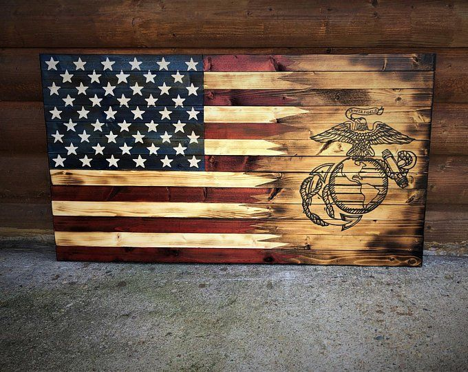 American&Marine Flag / Marines /Wooden Flag /Wooden American Flag / Marine Flag / Rustic American Flag / Charred Flag / Wood American Marine #americanflagart