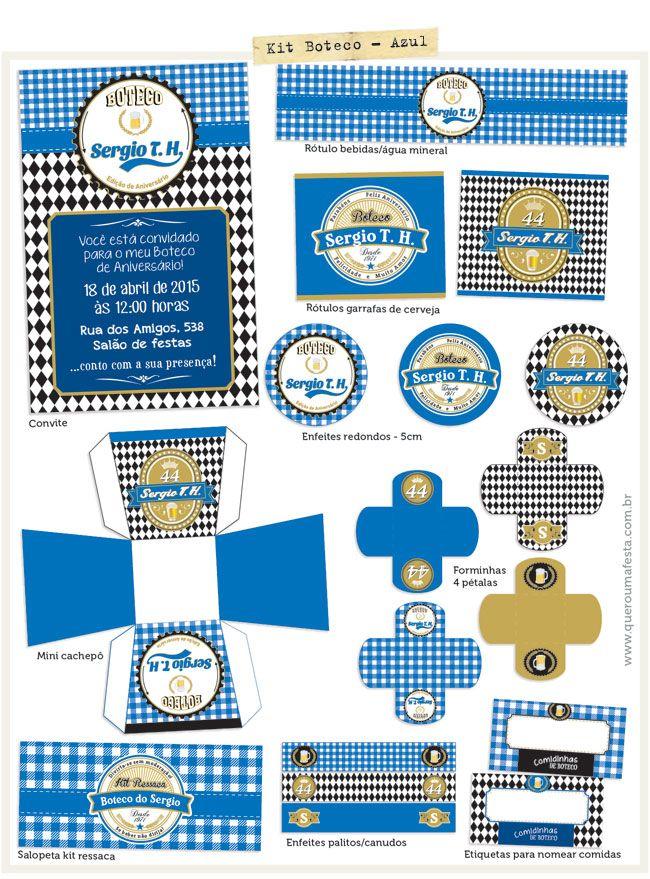 Kit Festa Boteco Azul Festa Boteco Pinterest Party Luau E Bar
