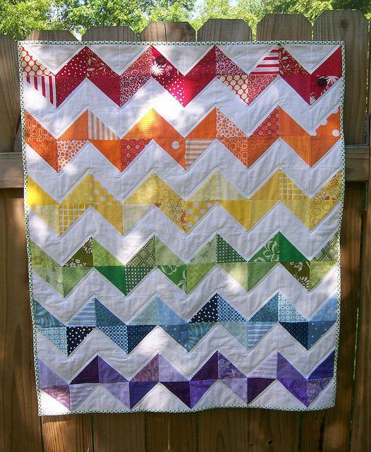 Finished Rainbow Zig Zag Quilt Rainbow Quilt Quilts Chevron