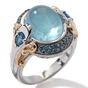 Victoria Wieck Milky Aquamarine, Blue Topaz and Blue Diamond Ring